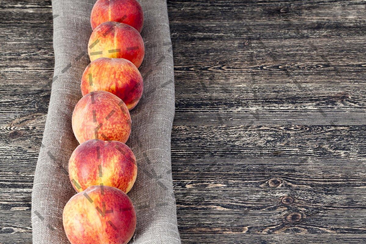 row ripe orange peaches example image 1