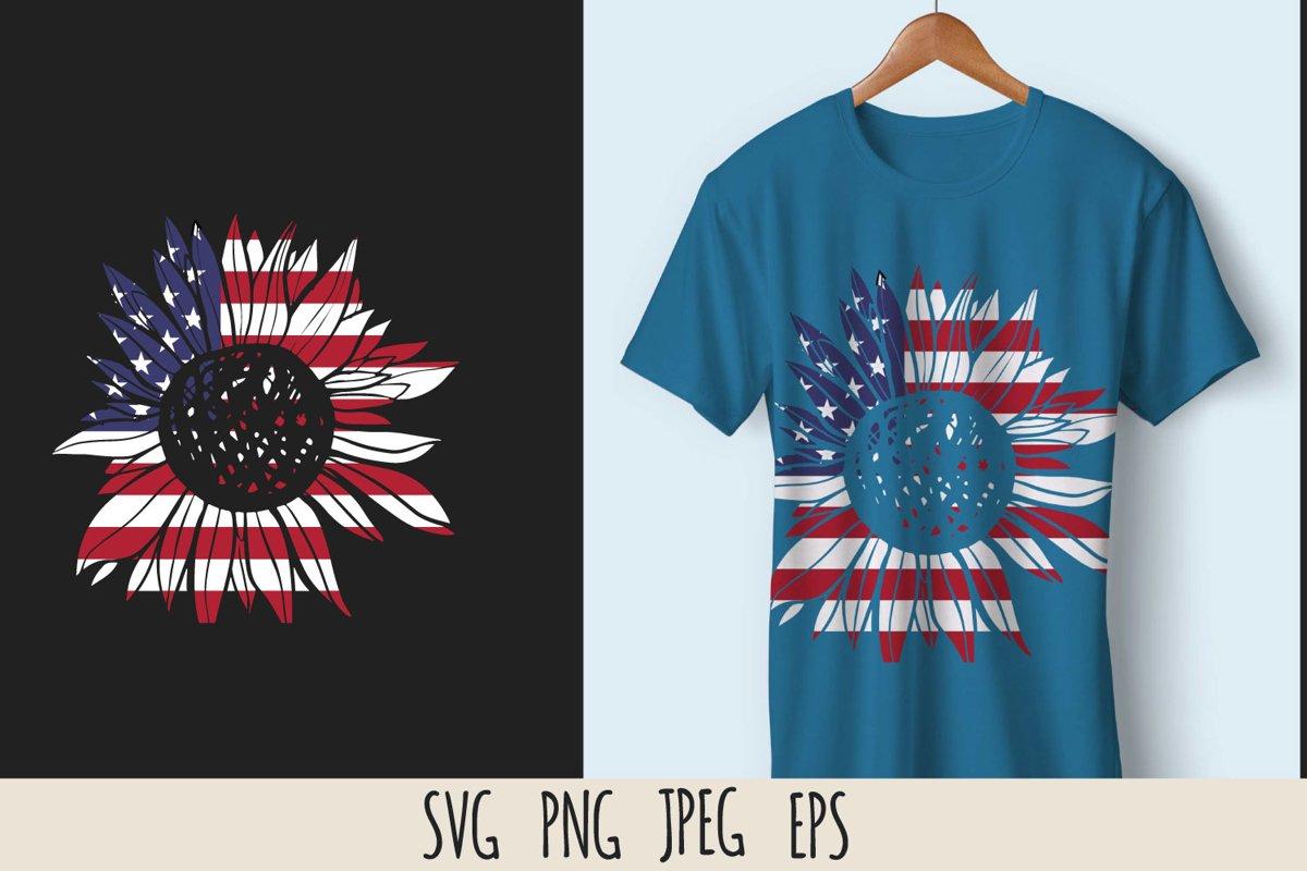 Patriotic sunflower SVG cut file example image 1