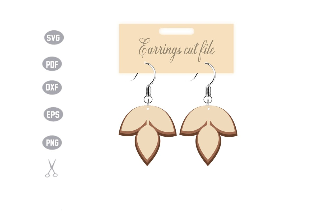 Stacked Earrings Template SVG example image 1