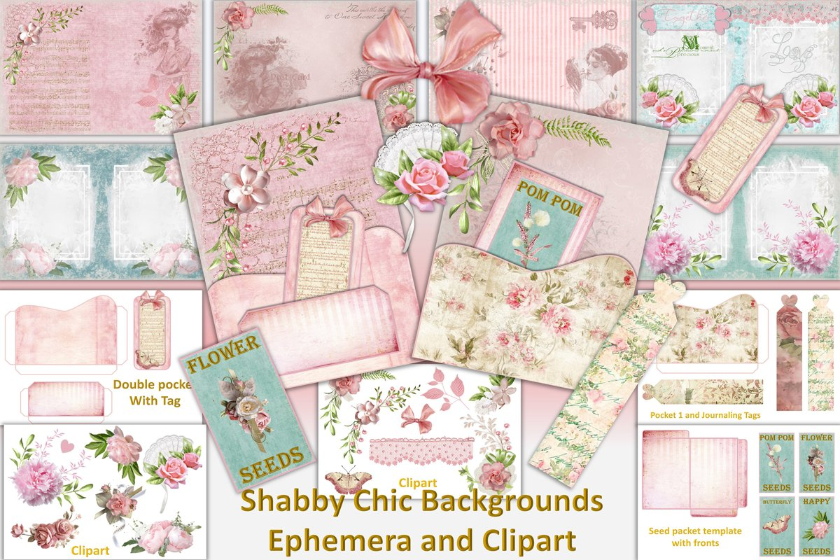 Shabby Chic Vintage backgrounds, Ephemera and Clipart Pmgs example image 1