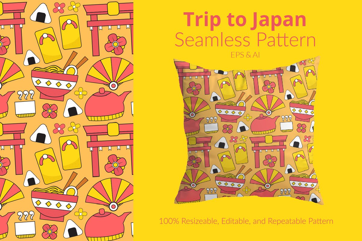 Trip to Japan - Seamless Pattern example image 1