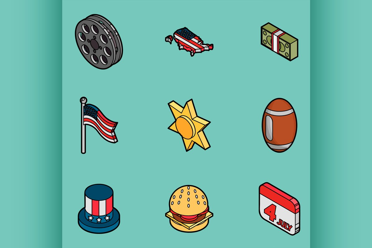 America color outline isometric icons example image 1