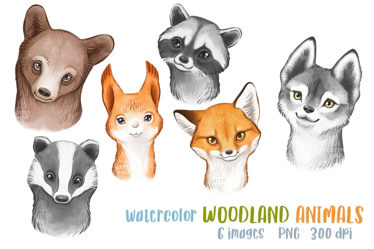 Watercolor woodland animals clipart bundle PNG Nursery decor example image 1