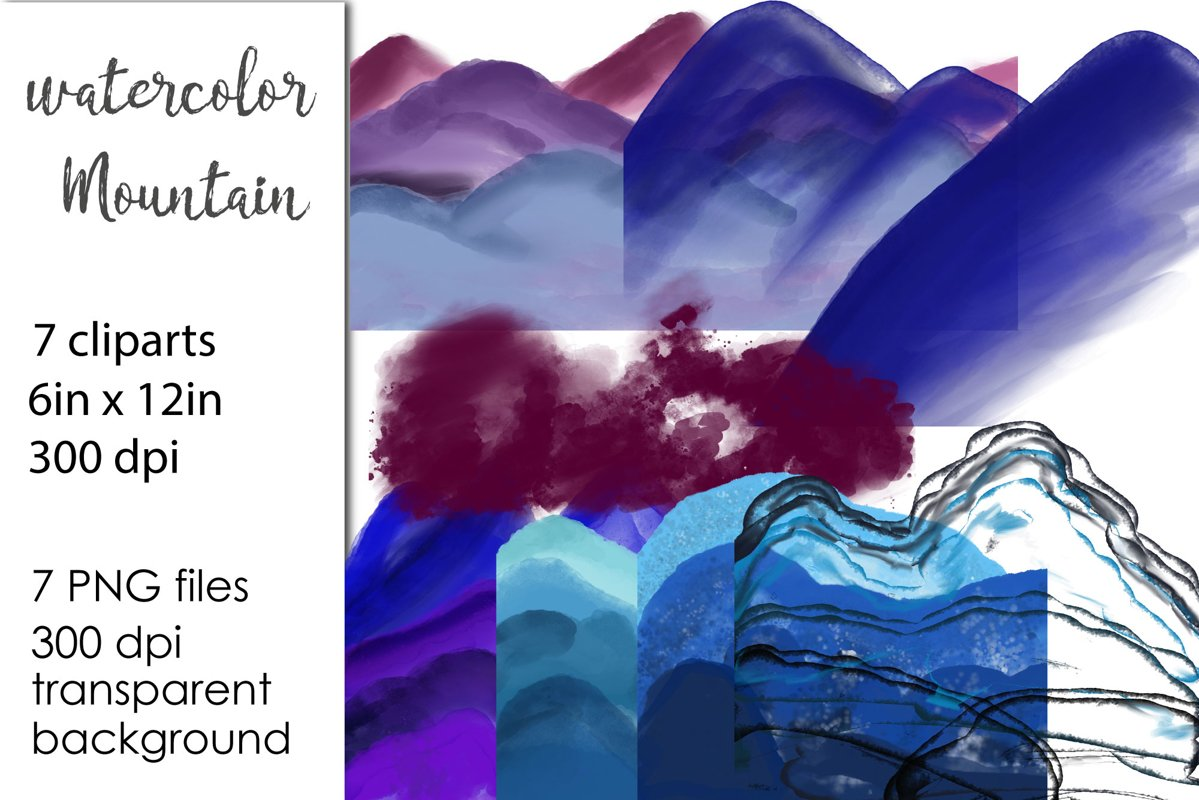 Watercolor Mountains Clipar PNG example image 1