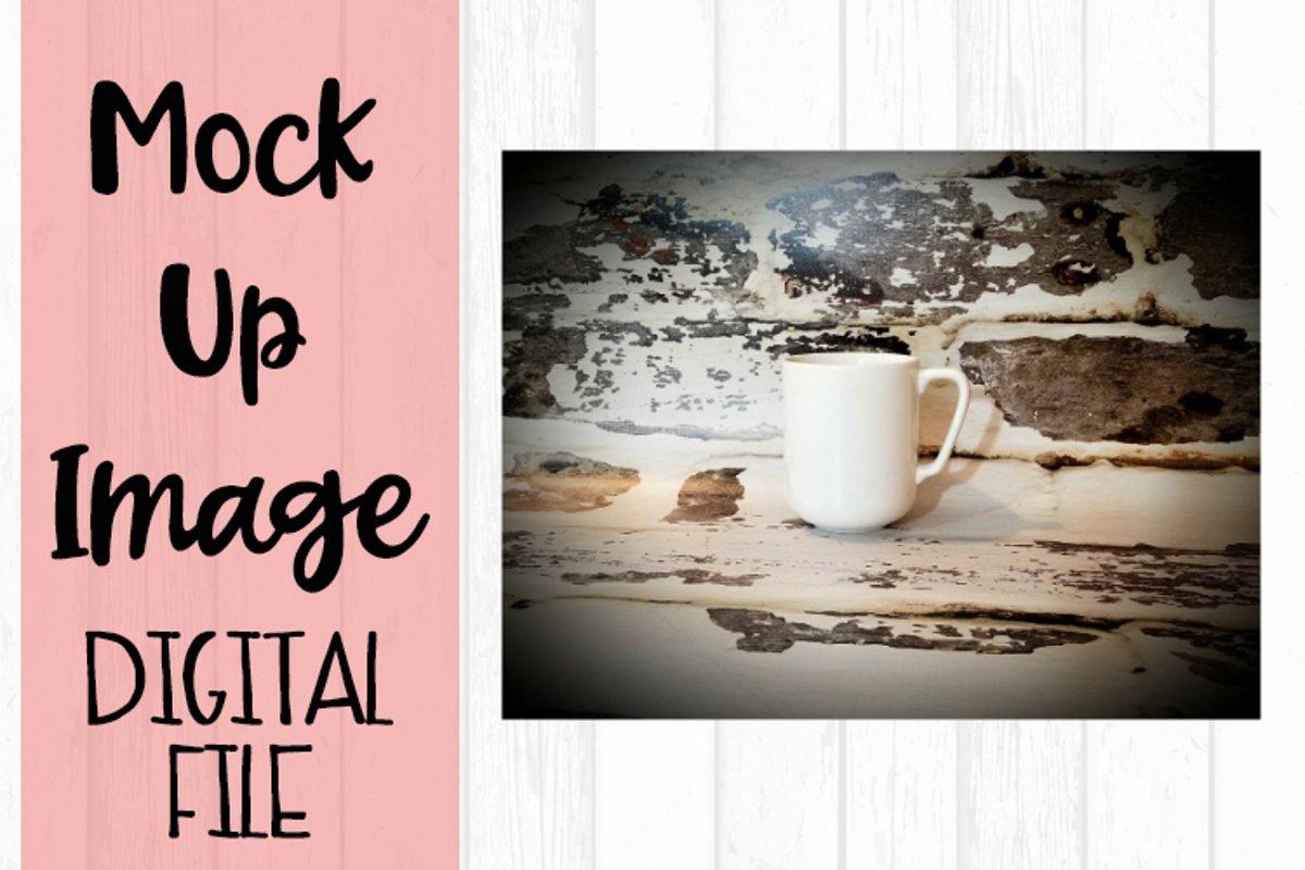 Mug on Brick Background Mock Up example image 1