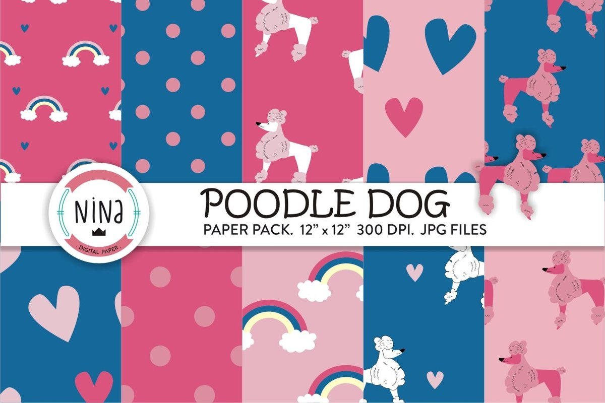 Poodle dogs digital paper, dog wrapping paper, dogs pattern example image 1