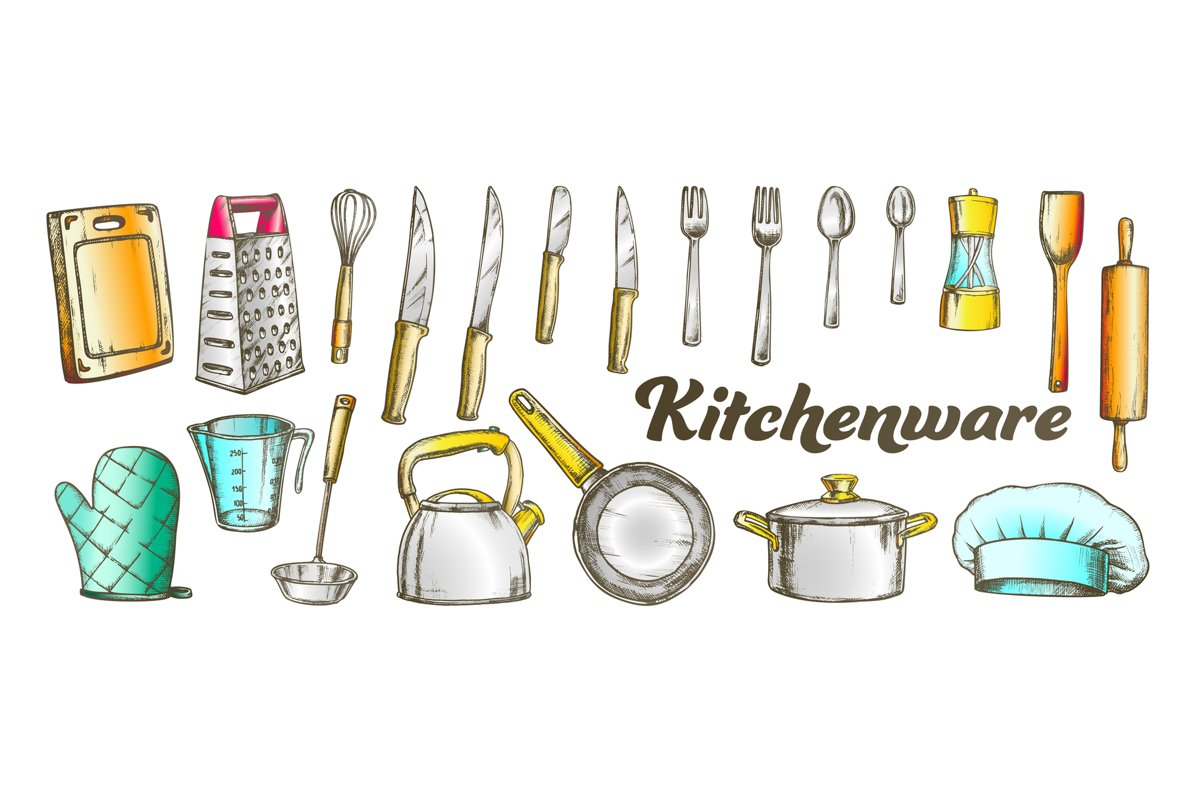 Kitchenware Utensils Collection Color Set Vector example image 1