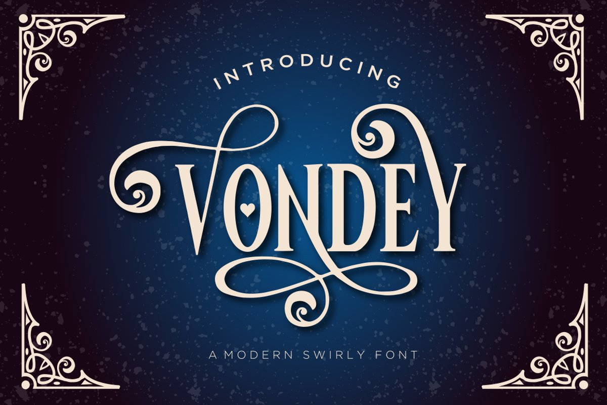 Vondey - Holiday font & ornaments example image 1