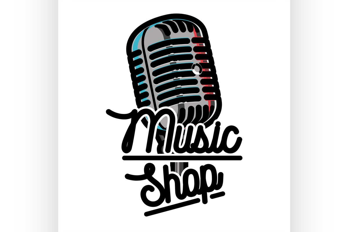 Color vintage music shop emblem example image 1