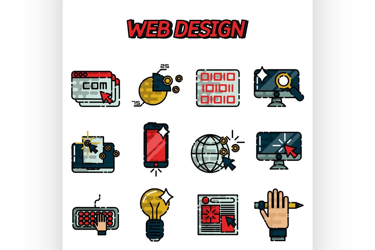 Web design flat icons set example image 1