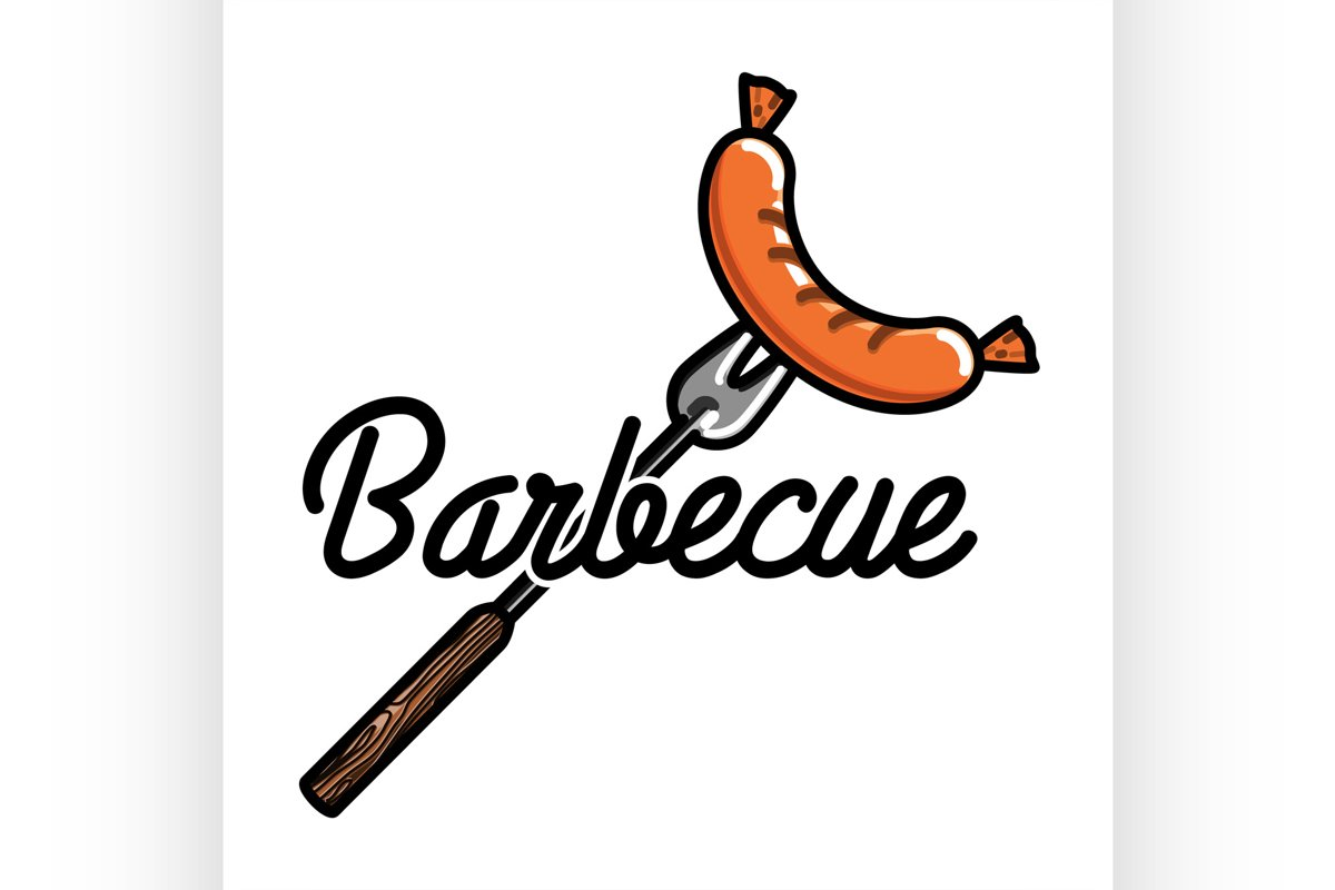 Color vintage barbecue emblem example image 1