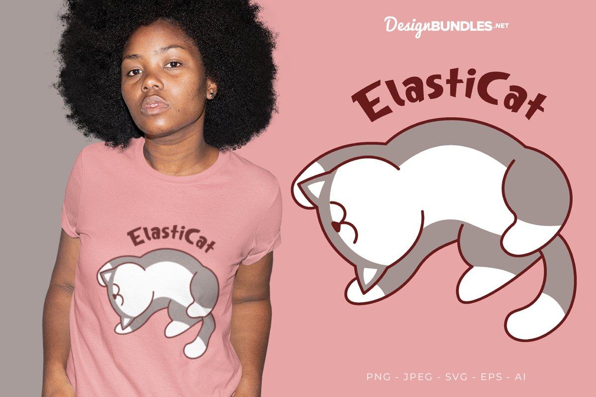 Elastic Cat Vector Illustration For T-Shirt Design example image 1