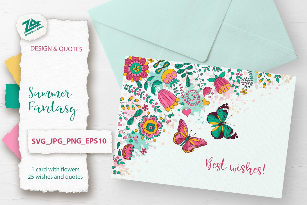 Floral Greeting Card with 25 Wishes & Quotes SVG/PNG/JPG example image 1