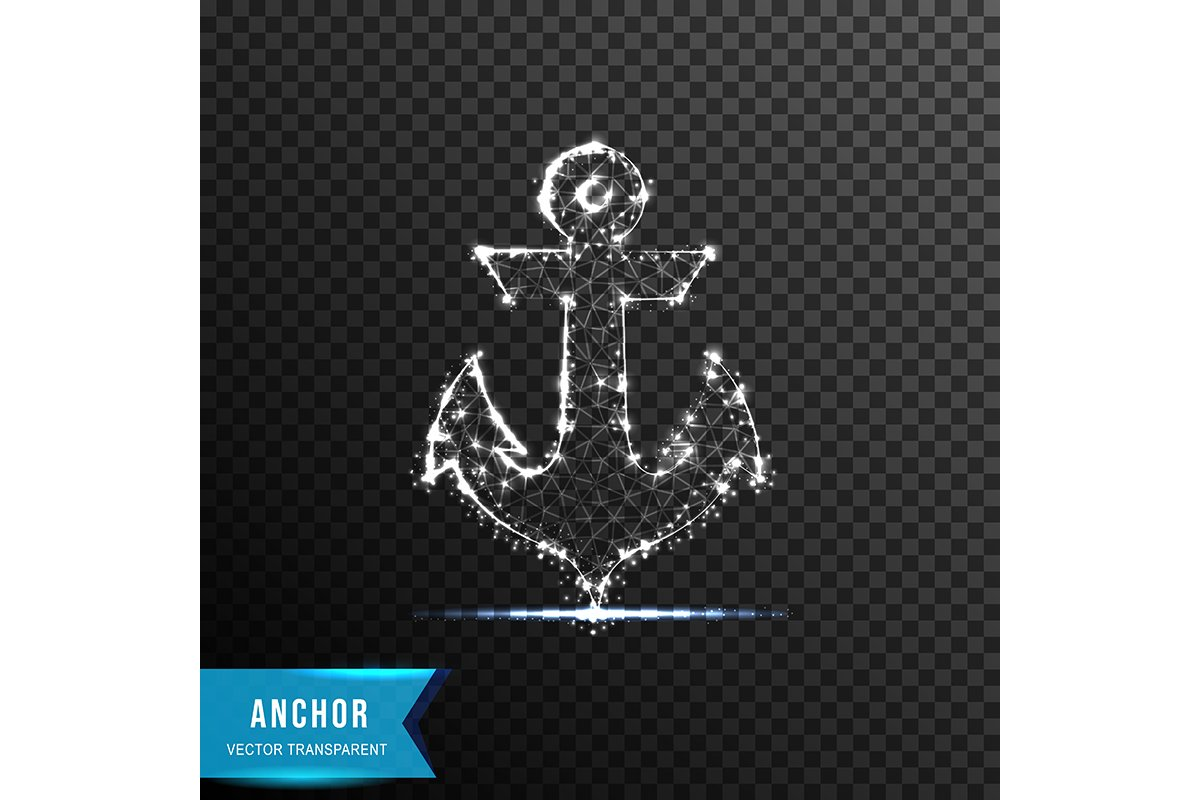 anchor from connecting dot and line. light effect. vector il example image 1