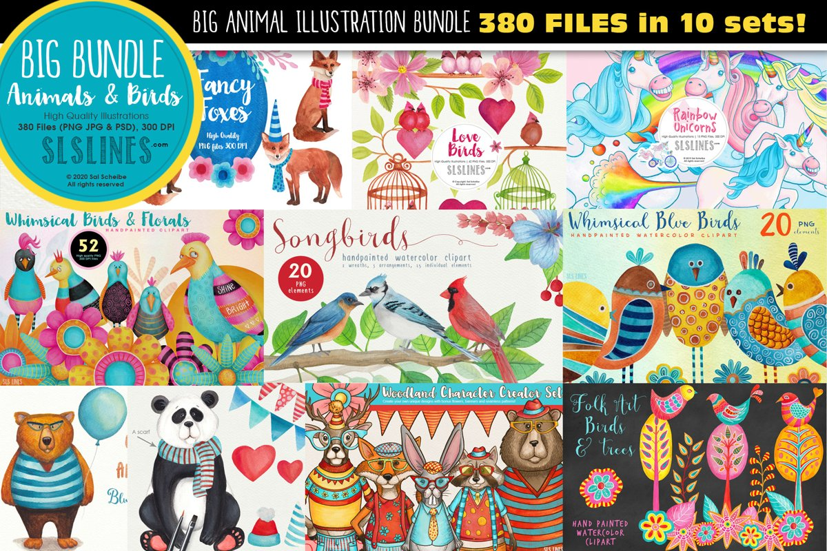 Big Animals & Birds Illustration Bundle example image 1