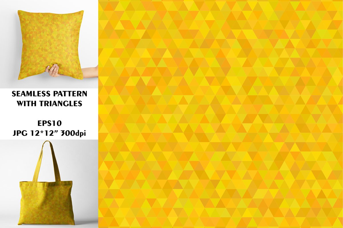 Seamless Pattern with Orange Triangles. Digital Paper. example image 1