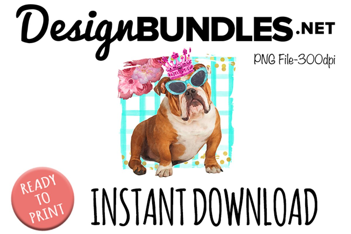 Glam Bulldog with Crown example image 1