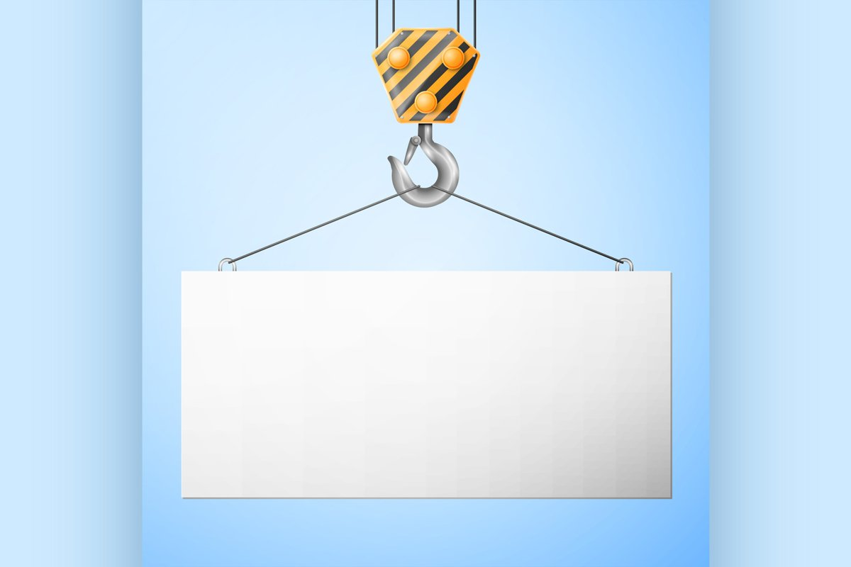Industrial hook holding Billboard example image 1