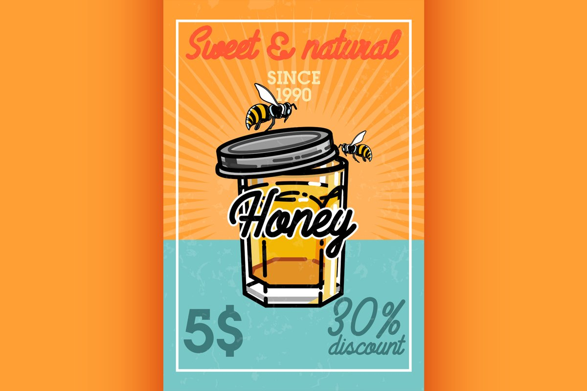 Color vintage honey banner example image 1
