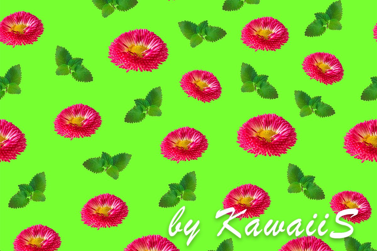 Pink daisy flowers seamless pattern with fresh green leaves example image 1