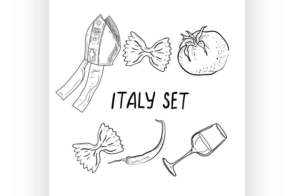 Hand drawn set of Italy example image 1