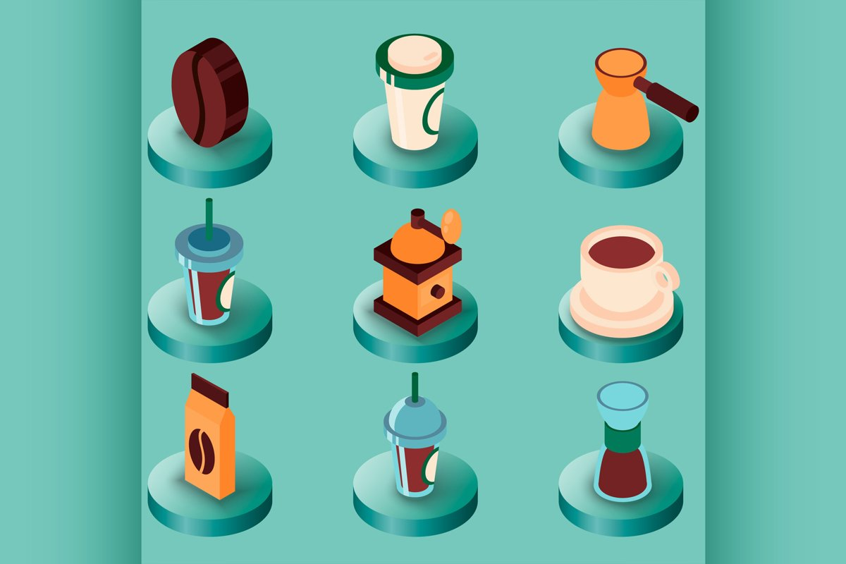 Coffee colored isometric icons example image 1