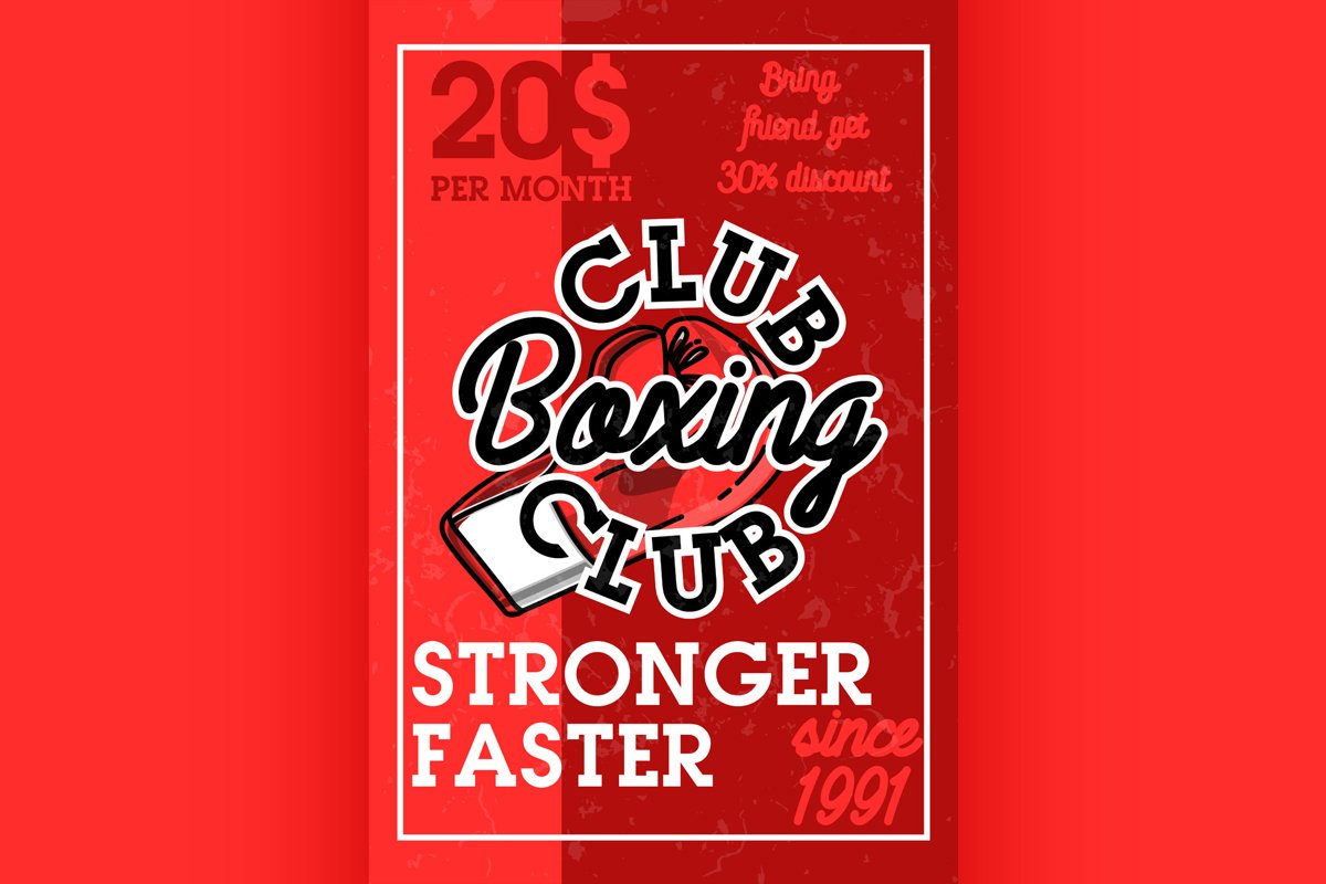 Color vintage boxing club banner example image 1