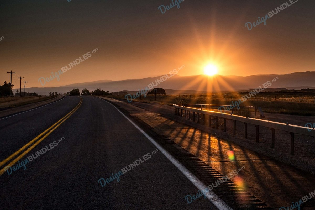 Stock Photo - Road In City Against Sky During Sunset example image 1