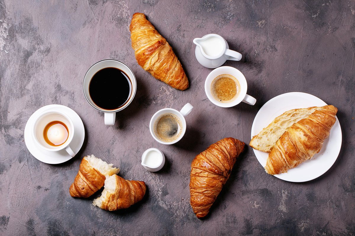 Fresh coffee with croissant example image 1