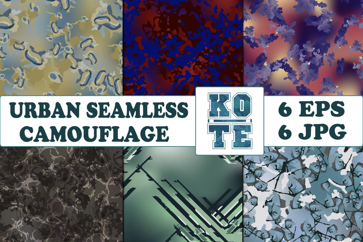 6 Seamless Military Urban Camouflage example image 1