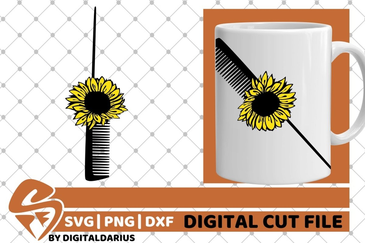 Hair Comb with Sunflower svg, Hair Stylist svg, Hairdresser example image 1