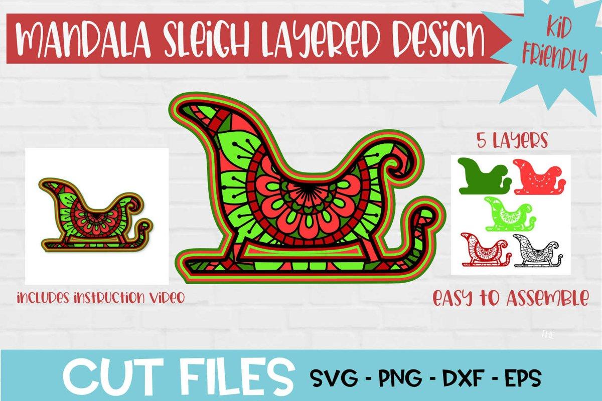 Santa Sleigh Mandala 3D Layered SVG Design example image 1