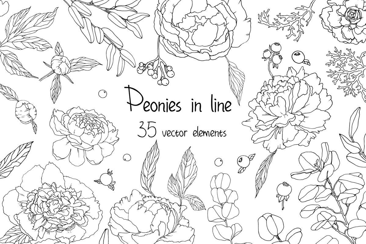 Piones in line vector example image 1