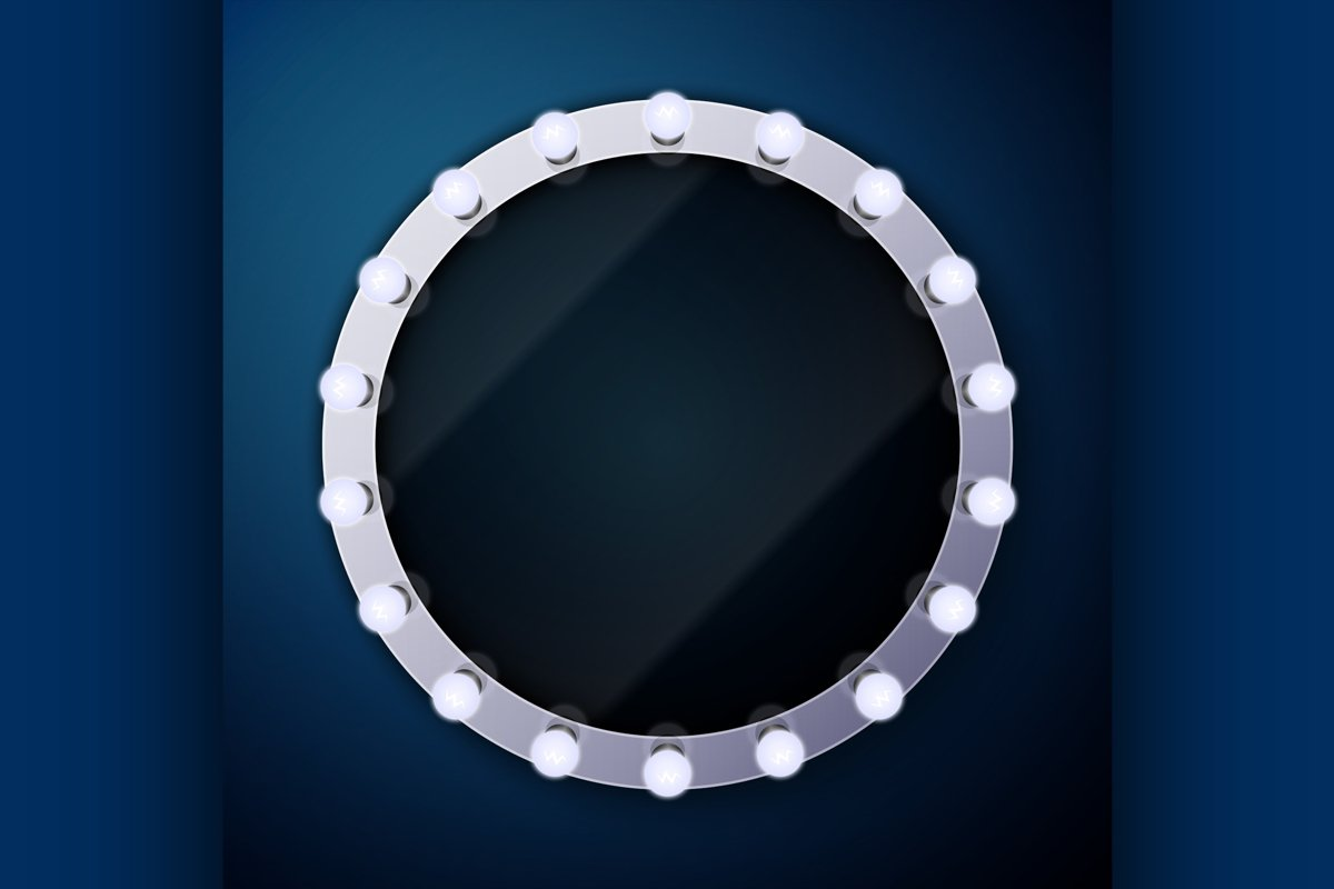Make up mirror with light bulbs example image 1
