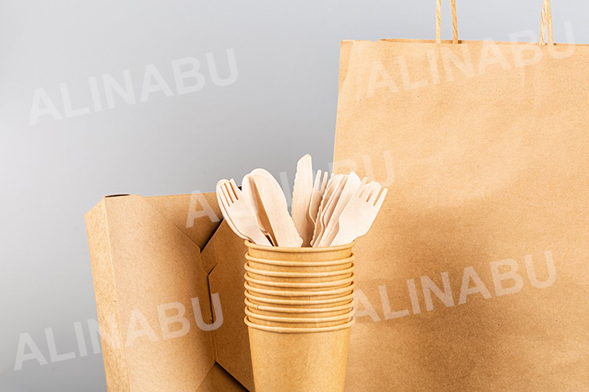 eco natural paper cups, bamboo cutlery and craft bag example image 1