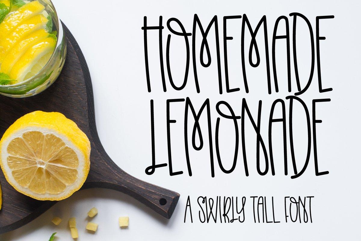 Homemade Lemonade - A Swirly Tall Font example image 1
