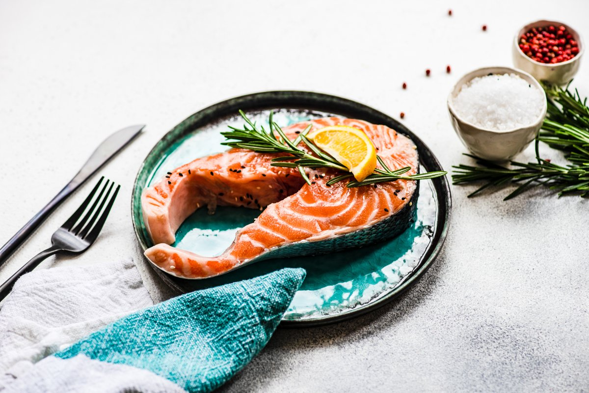 Healthy food concept with salmon fish example image 1
