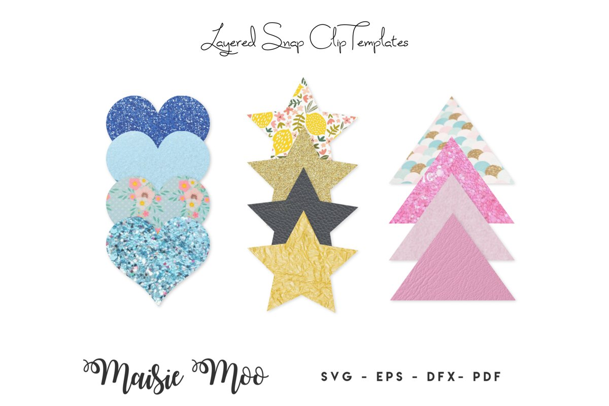 Snap Clip SVG , Snapclip Template, Bow Template, Bow SVG, example image 1