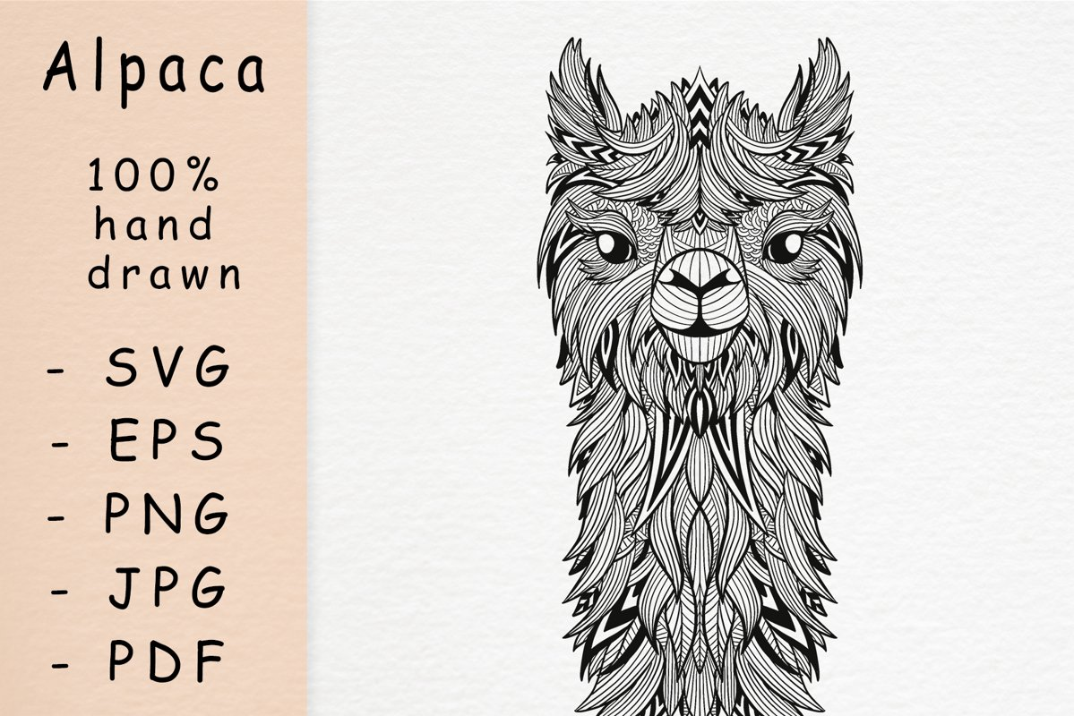 Hand drawn Alpaca with patterns example image 1
