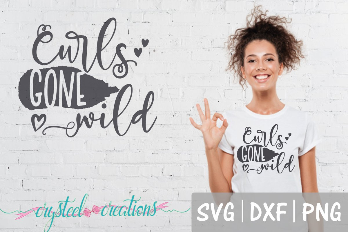 Curly Hair Don't Care SVG, DXF, PNG example image 1
