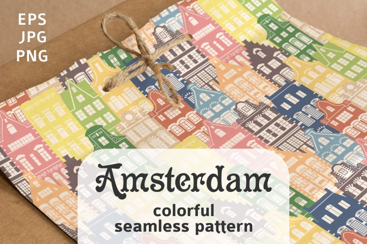 Seamless pattern of Holland houses example image 1