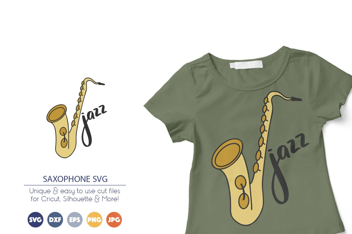 Saxophone SVG | Jazz Music SVG example image 1