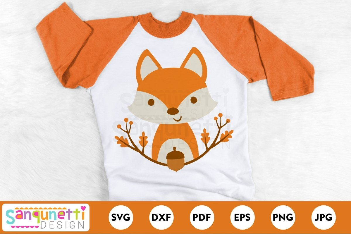 Fall Fox with leaves SVG, leaves and acorn autumn cut file example image 1