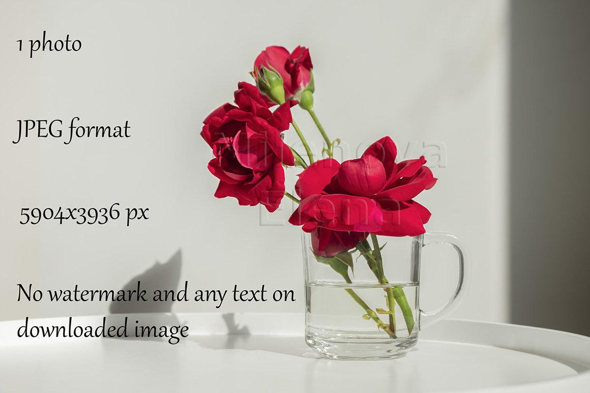 Home decor, interior. Beautiful red roses in a glass cup example image 1