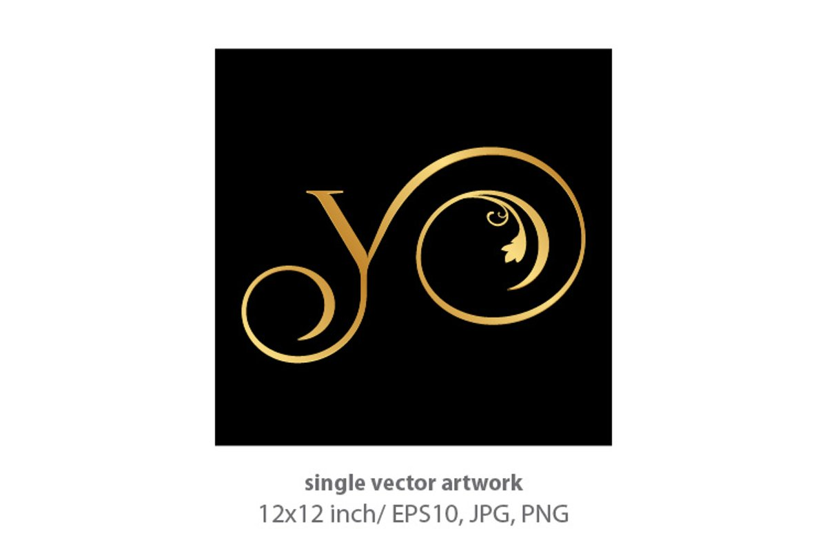 Decorative golden letter y example image 1