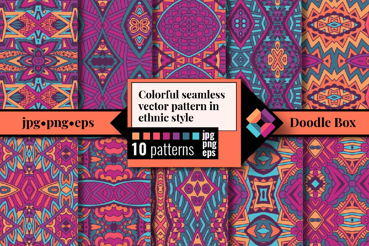 Colorful seamless vector pattern in ethnic style example image 1