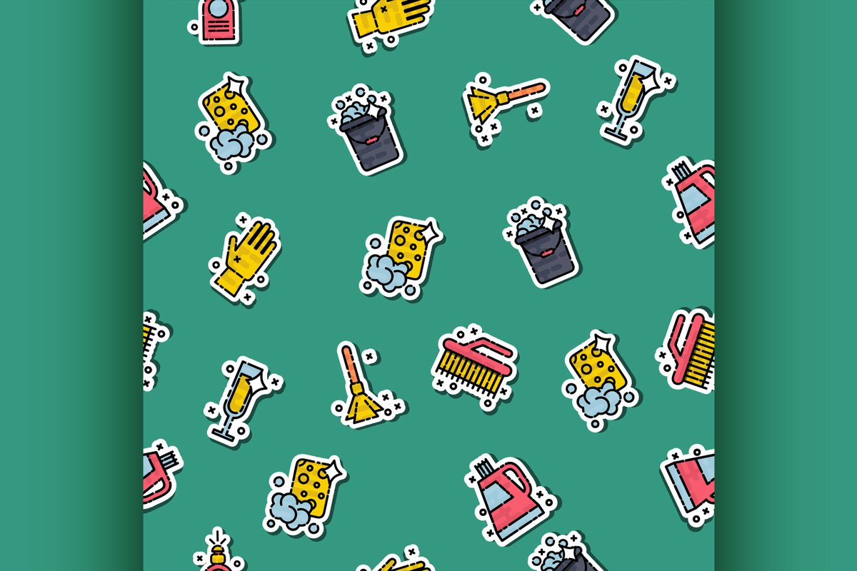 Cleaning icons set pattern example image 1
