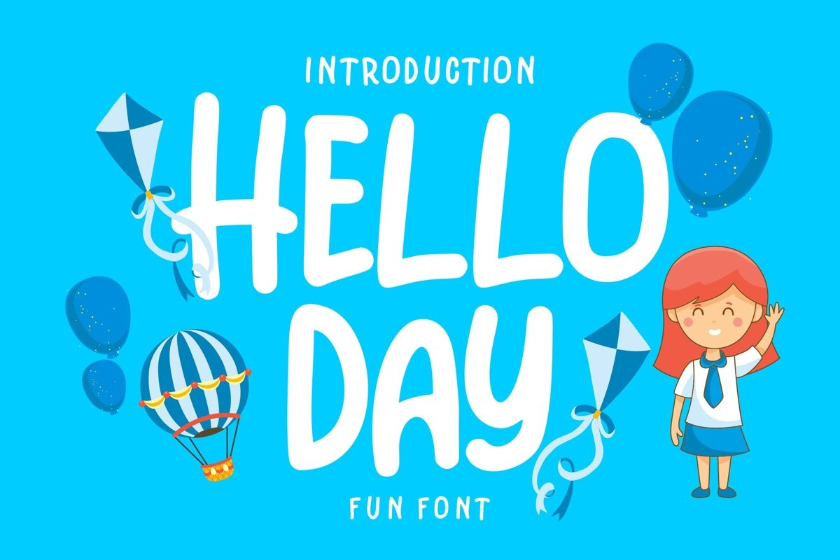 Hello Day | Kids Fun Font example image 1