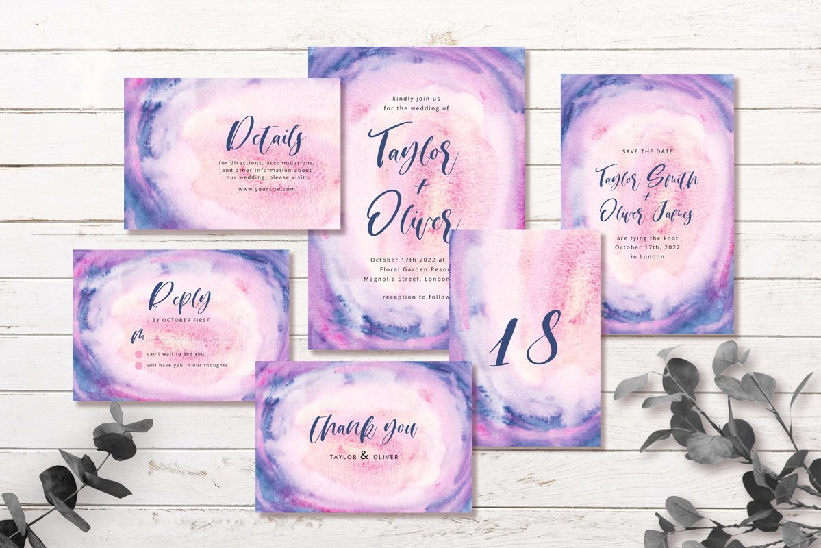 Blue Pink Abstract Background Wedding Invitation Set example image 1