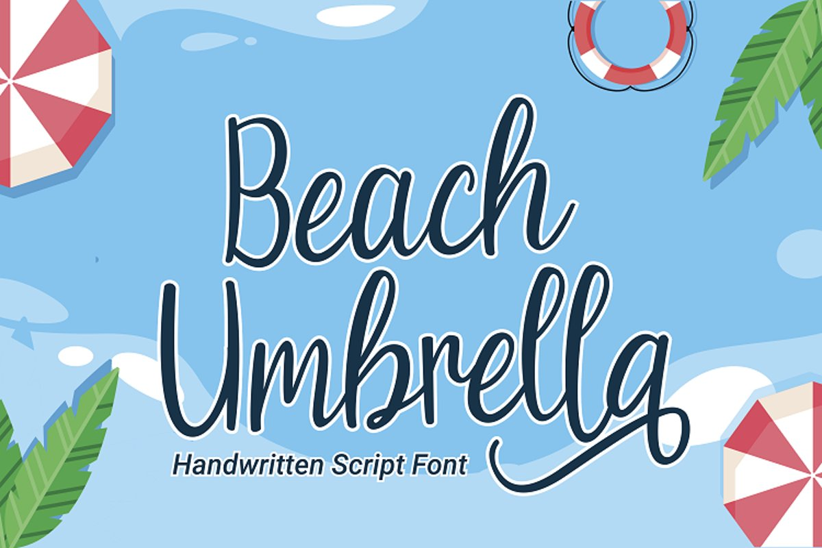 Beach Umbrella - Handwritten Script Font example image 1